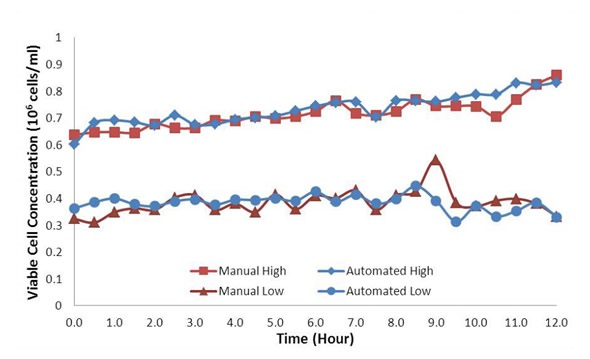 Viable cell concentration profiles for the high (0.7 x 106 cells/mL) and low (0.4 x 106 cells/mL) concentration standards. Automated and manual samples are shown in blue and red, respectively.