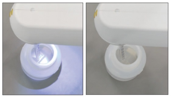 The PIPETBOY pro with the LED switched on (left) makes the bottom of the bottle clearly visible compared to the bottle that is not illuminated (right).