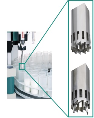 The high-frequency homogenizer aggregate with the protruding blade (154mm) is used for sample particles larger than the diameter of the aggregate (12mm). The Polytron homogenizer is made by Kinematica AG, Switzerland.