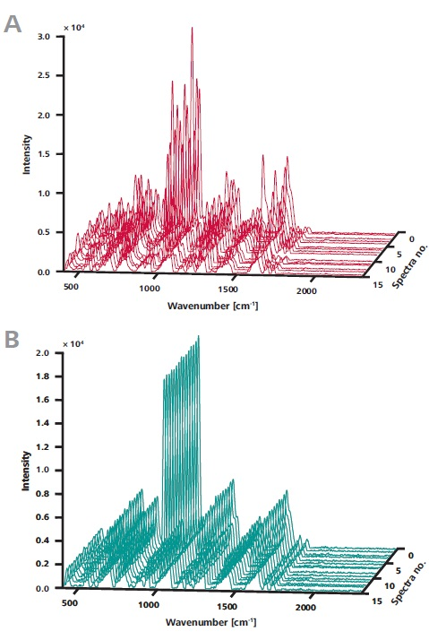 A) The 15 Raman spectra were recorded without ORS at random locations on a single sample. Although peaks are observed at the same positions, intensities vary. B) As in A, the 15 spectra were measured at random locations on a single sample – this time, however, an area of 3 mm diameter was sampled using ORS. The spectra are visibly congruent.