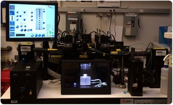 MoFlo CDP Cell Sorter at NYULMC Flow Cytometry Facility. High-Speed cell sorter for bulk collection or single cell cloning of purified cell populations.