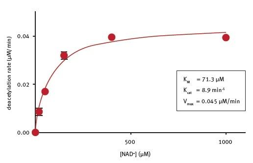 Determination of the enzymatic properties of E.coli CobB.