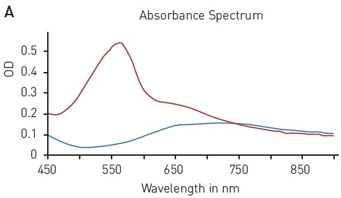 BCA protein quantification assay. A) Absorbance spectrum of bicinchoninic acid (native – blue, BCA-Cu+-complex in presence of BSA - red) B) Protein standard curve of BSA.