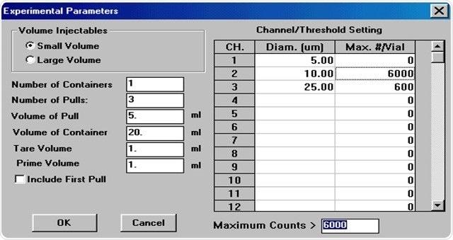 AccuSizer software setup for USP <788/>