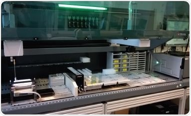 Freedom EVO 200 workstation equipped with LiHa and RoMa Arms, a Te-Chrom module and an Infinite® M200 PRO microplate reader.