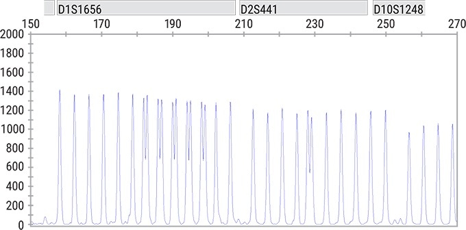 Spectrum Compact Achieves a 1bp resolution as can be seen in the D1S1656 and D2S441 loci in the PowerPlex® Fusion 6C System Allelic Ladder. Injection was performed at 1.2 kV for 8 seconds.