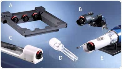 Bruker MMAB and adapters. (A) In-Vivo Xtreme I & II adapter. (B) SkyScan microCT adapter. (C) Albira II & Si PET/SPECT/CT adapter. (D) MMAB chamber. (E) ICON MRI adapter.