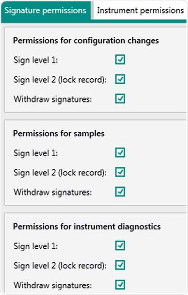 """Display of user rights in Vision Air Pharma regarding electronic signatures for """"Administrators"""". Rights can be adjusted for the individual user group."""