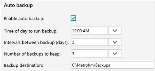 Auto backup settings. Backups are performed even if Vision Air Pharma is closed or users are logged off from the operating system.