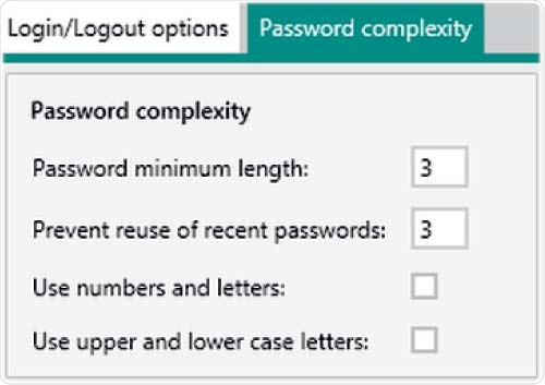 Setting options in Vision Air Pharma regarding password complexity. The minimum settings for the password length and the reuse of recent passwords is three.