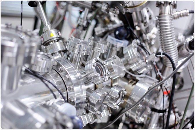 View of part of an ultra-high vacuum chamber of a high performance X-ray photoelectron spectrometer for photoelectron spectroscopy (XPS) and parallel imaging (imaging XPS). Image Credit: Alexander Gatsenko / Shutterstock