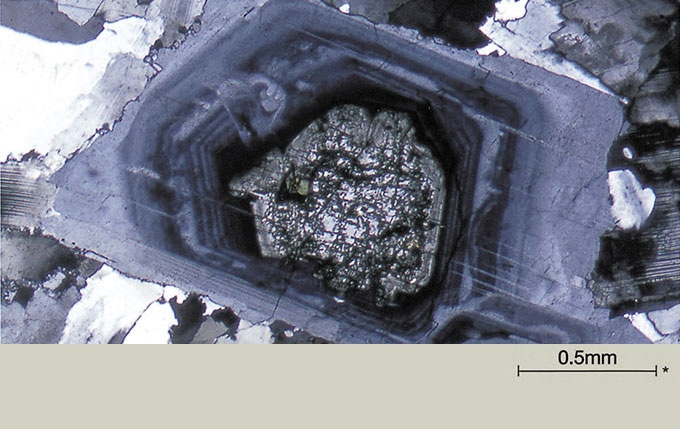 Zonal structure of Plagioclase in quartz diorite. *Scales Indicate actual size of samples