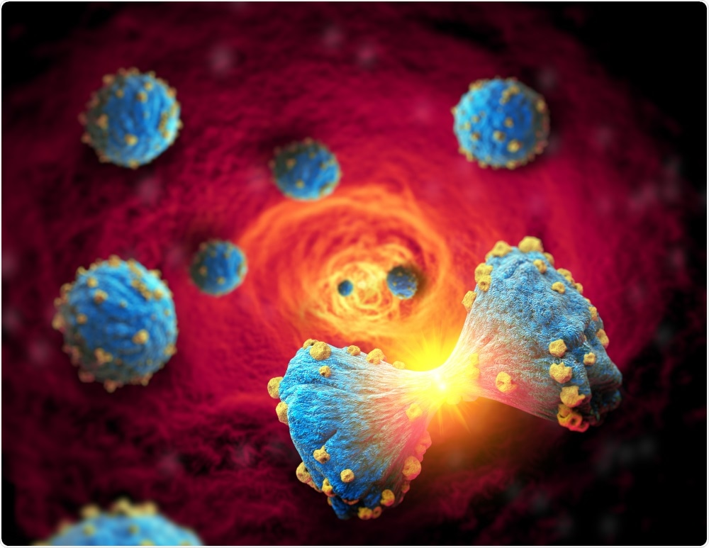 Cellules de cancer du sein subissant la métastase par le vaisseau sanguin - déménageant à une autre région du corps Giovanni Cancem