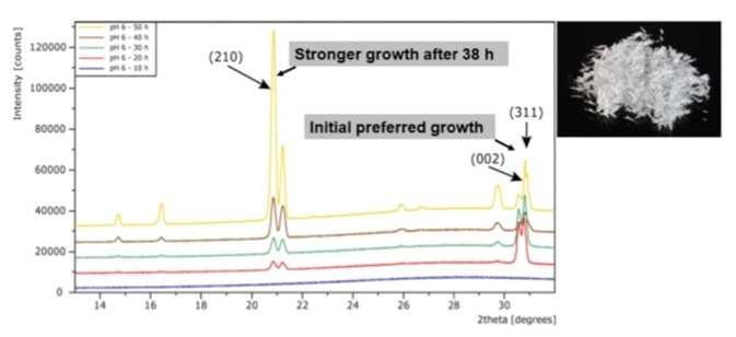 PXRD patterns of the crystallization of DL-Alanine.