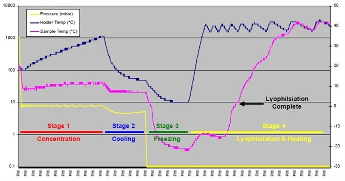 Results of concentration and lyophilization with heating, Trial 4.