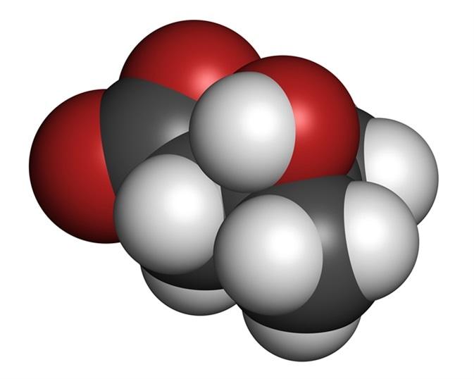 molécula ácida beta-methylbutyric Beta-hidroxi del metabilito de la leucina (HMB). Utilizado como suplemento, puede aumentar fuerza y los átomos de Massachusetts del músculo se representan como esferas con la codificación policromática convencional. Haber de imagen: molekuul_be/Shutterstock