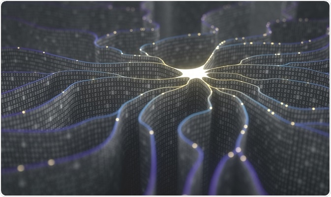 3D illustration. Artificial neuron in concept of artificial intelligence. Image Credit: Ktsdesign / Shutterstock