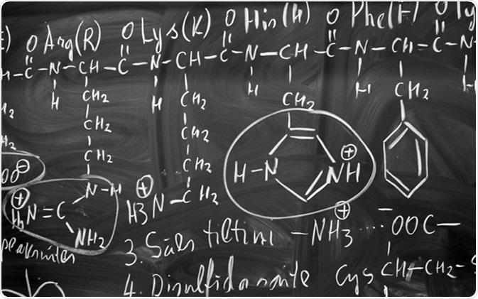 Biochemistry scientific background with amino acids. Image Credit: Anna Jurkovska/ Shutterstock