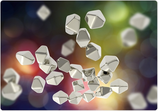 Titanium dioxide TiO2 nanoparticles, 3D illustration. TiO2 nanoparticles have shape of hexagonal crystals, they are used in medicine, chemistry, cosmetics, paper industry.  Image Credit: Kateryna Kon / Shutterstock