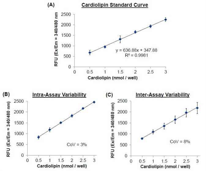 (A) Cardiolipin standard curve for cardiolipin concentrations 0–3 nmol/well. (B) Intra-assay variation and coefficient of variation (n = 3). (C) Inter-assay variation and coefficient of variation (n = 3). All of the assays were performed using BioVision's Cardiolipin Quantification Kit.