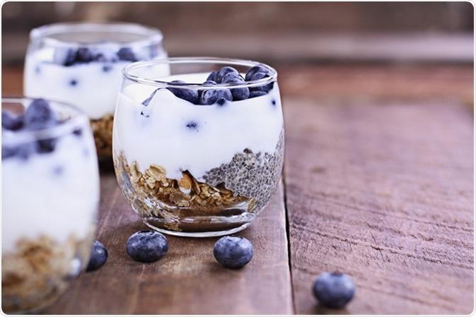 Kefir yogurt and chia parfaits. Kefir is rich in probiotics. Image Credit: Stephanie Frey / Shutterstock