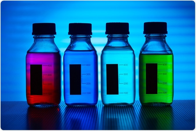 Set of of food colorants, food additives. Image Credit: science photo / Shutterstock