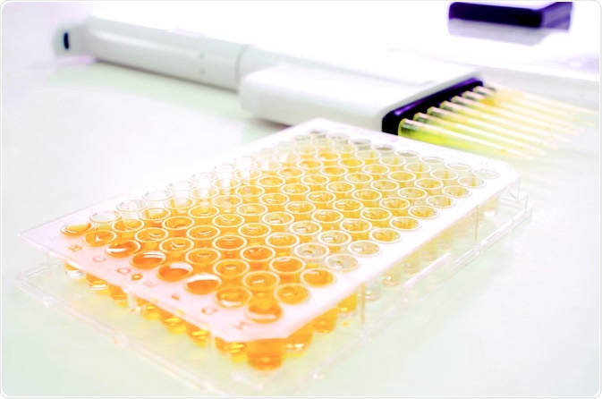 A microtiter plate used in high-throughput screening (HTS) By Choksawatdikorn