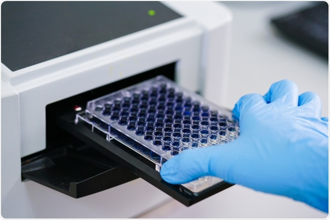 A 36-well plate used for carrying out an ELISA - by Choksawatdikorn