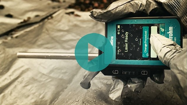 Mira DS handheld Raman spectrometer with ball probe attachment for hazmat identification