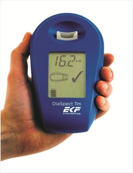 The hand-held DiaSpect Tm enables reagent-free hemoglobin analysis within two seconds.