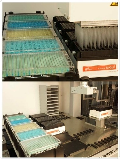 Top: The Multiple Channel Arm equipped with an EVA adapter plate picks up 96 disposable tips from a 96 disposable tip box. Bottom: The Robotic Gripper Arm moves a Multiple Channel Arm 96 disposable tip box from the Carousel transfer station to the worktable.