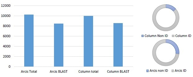 Similar performance observed between column extraction and Arcis extraction (E. coli spiked into blood). The graph shows the total number of sequences generated, and the number with valid BLAST returns. The pie charts indicate how many sequences match the target species within 95% or greater. Processing time for the column based kit was 60 minutes, processing time for the Arcis kit was 3 min.