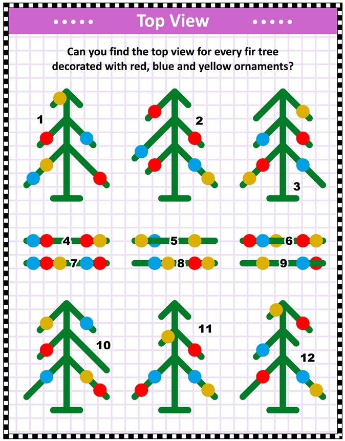 IQ training top view visual puzzle (suitable both for kids and adults): Can you find the top view for every fir tree decorated with red, blue and yellow ornaments? Answer included bottom of page. Image Credit: ratselmeister / Shutterstock