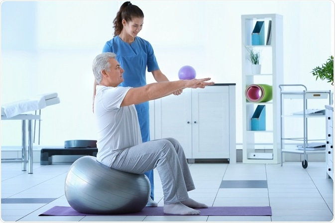 Patient undergoing pulmonary rehabilitation for COPD in physiotherapy suite.