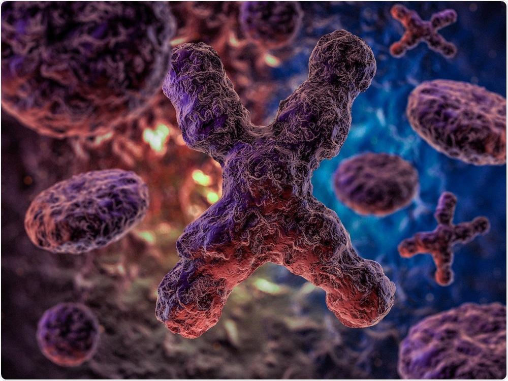 Chromosomes with mutations on dark background