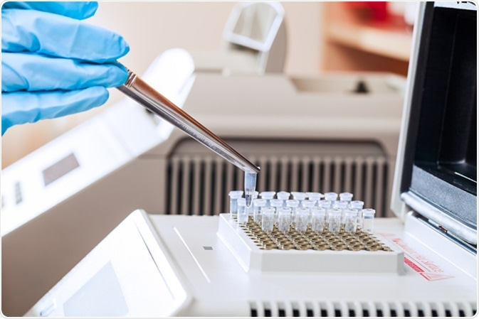 Technician loading test tubes with sampled DNA for polymerase chain reaction. Image Credit: Nikita G. Sidorov / Shutterstock