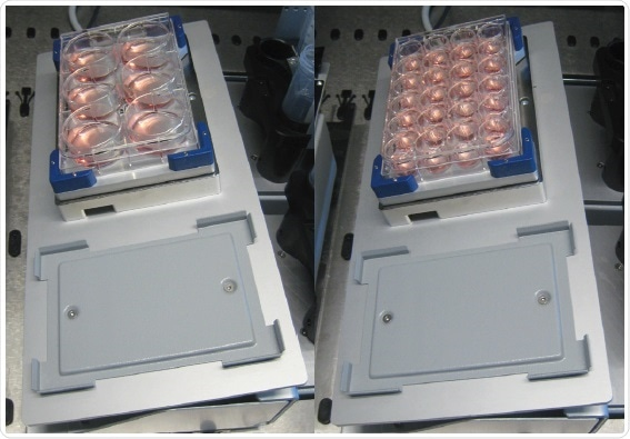Tilting rack and Variomag Teleshake with six and 24-well plates.