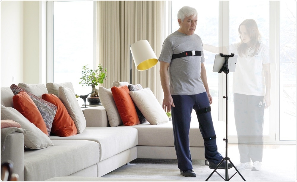 Man receiving physiotherapy with sensor technology