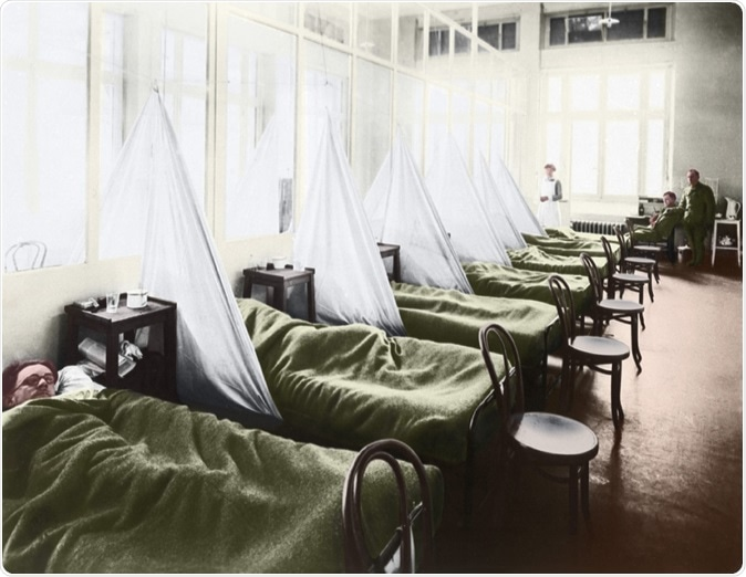 An influenza ward at the U S Army Camp Hospital in Aix-les-Bains France during the Spanish Flu epidemic of 1918-19, 1918 photograph with digital color. Image Credit: Everett Historical / Shutterstock