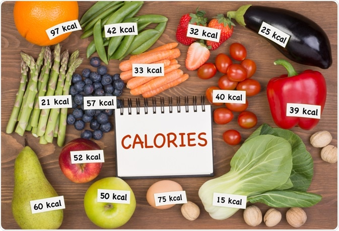 Number of calories in healthy fruit and vegetables - a photo by photka