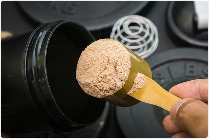 Polvere del proteina del siero. Credito di immagine: Petejerkk/Shutterstock