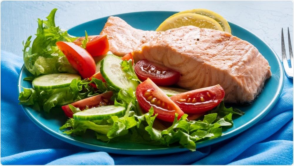 FODMAP diet - salmon and salad