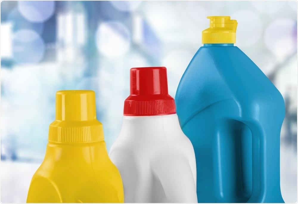 Bottles of household bleach