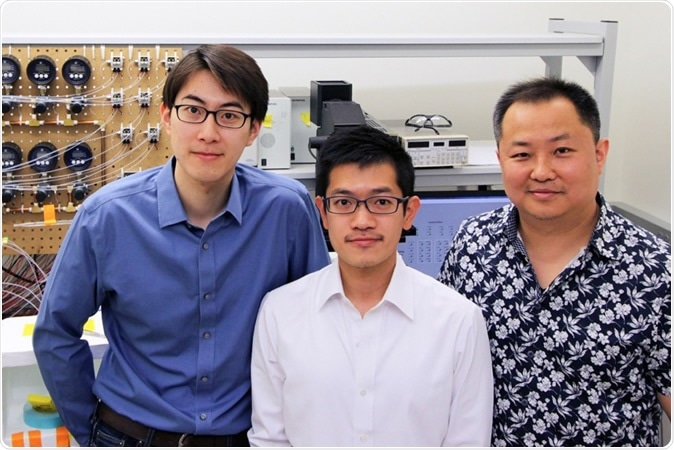 A Virginia Tech professor and his team of researchers have created new technology to help in understanding how the human body battles diseases. Left to right, Bohan Zhu, Yuan-Pang Hsieh, and Chang Lu.