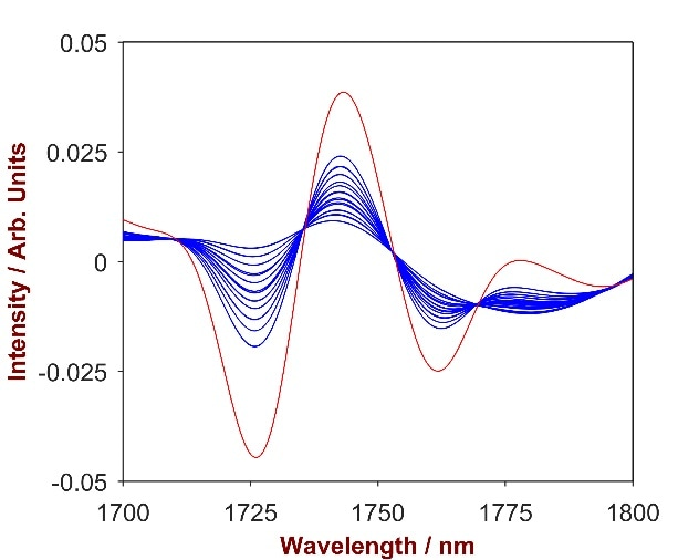 2nd derivative spectra of 20 SLES-shampoo mixtures with SLES concentration differing from 2.0 – 13.0% (blue). The overlay with pure SLES (red) identifies the significant wavelength region of 1700-1800 nm