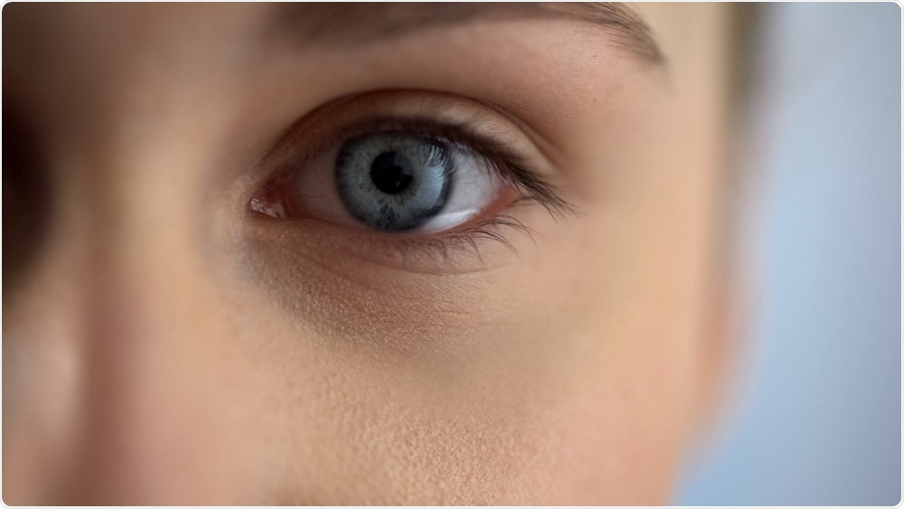 Picture of woman focusing on eye