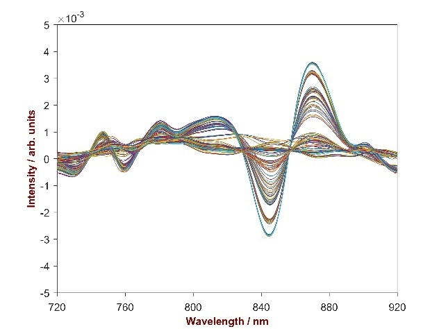 2nd derivative spectra of 132 scutellaria baicalensis powder samples with the Baicalin concentration differing from 11.54–15.40%. Displayed is the wavelength region of 720–920 nm were the correlation between absorbance change and concentration change is obvious.