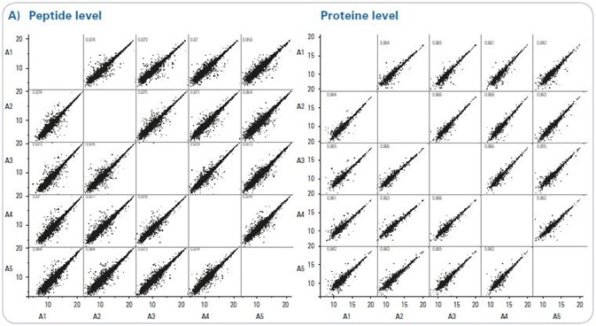 """Reproducibility of DIA measurements. (a) Intensity correlation between all five technical replicates on peptide and protein level for Sample A (Experiment HYE124). (b) Summary of the reproducibility for the presented DIA measurements. R2 was calculated as average of all possible pairs for sample A, separately for both sample sets (HYE110 and HYE124). The """"Median CV – human"""" represents the median CV for the background human species among the replicate runs."""