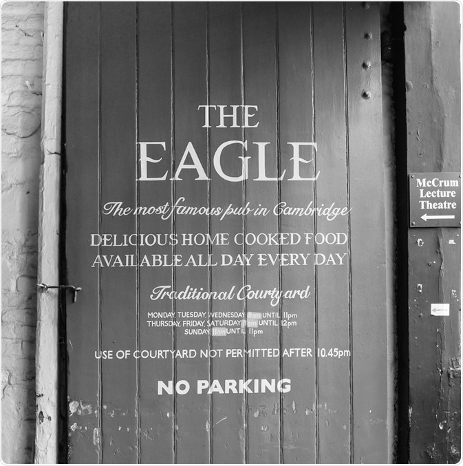 The Eagle Pub where Crick and Watson announced they had discovered the structure of DNA in 1953. (Image taken by Claudio Divizia, 2018 - Shutterstock).