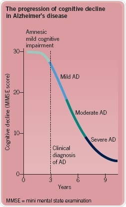 The progression of cognitive decline in Alzheimer